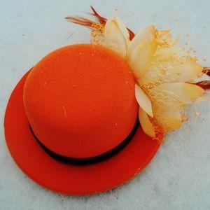 Ladies Orange Fascinator Hat Flower Feathers NWT